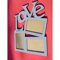 Porta Retrato Painel Love Com Espelho P/ Fotos 10x15 38cm