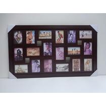 Quadro Painel De Fotos - 18 Fotos - C X. Lisa - Cor Tabaco