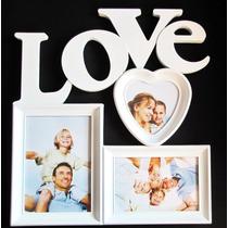 Quadro Painel Love Porta Retrato 33 X 36 Cm Mural 3 Fotos