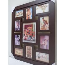 Quadro Painel De Fotos - 11 Fotos - Mod. Lisa - Cor Tabaco