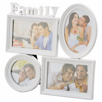 Porta Retrato, Quadro Family Branco Para 4 Fotos 3891