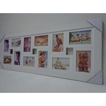 Quadro Painel De Fotos - 12 Fotos - Mod. Lisa - Cor Branca