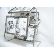 Porta Retrato Giratório De Metal E Vidro 8 Fotos 10x15