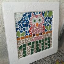 Quadro Para Porta Com Número Mosaico, Pastilha De Vidro