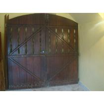 3 Portões Em Madeira Maciça Imbuia Trabalhado Para Garagem