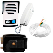 Kit Interfone Porteiro Agl + Fechadura Elétrica + Cabo 20m.