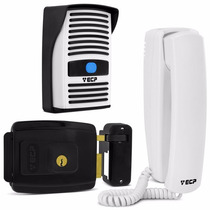 Kit Interfone Porteiro Eletrônico + Fechadura Elétrica Ecp