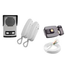 Kit Interfone Agl 2 Pontos + Fechadura Elétrica + Cabo
