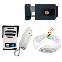 Kit Interfone Agl + Fechadura Elétrica + 100 Metros De Cabo