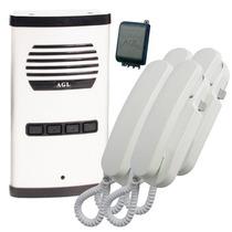 Kit Interfone Porteiro Eletrônico Coletivo 4 Pontos Aluminio
