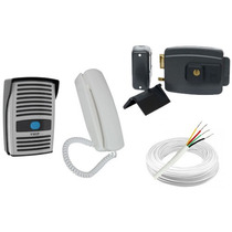 Kit Interfone Ecp + Fechadura Elétrica Abre P/ Fora + Cabo