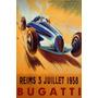 Bugatti 1938 Corrida Carro Velocidade Vintage Poster Repro