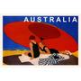 Australia Casal Praia Guarda Sol Mar Vintage Poster Repro