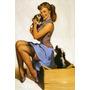 Poster Cartaz Pinup Linda Garota Sexy Cachorros Meia Liga Us