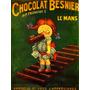Chocolate Besnier Garota Comendo Paris França Poster Repro