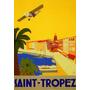 Avião Barco Vela Saint Tropez Praia França Poster Repro