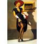 Poster Pinup Linda Garota Loira Sensual Vestido Decotado