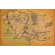 Mapa Terra Media - Poster Em Lona 60x90cm
