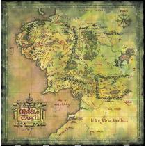 Mapa Terra Media - O Senhor Dos Anéis - Poster Lona 60x60cm