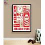Quadro Poster Jurassic Park Minimalista - Tamanho A3