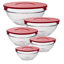 Conjunto De Potes De Vidro Com Tampa 5 Pecas Xhk-4903-007