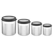 Conjunto Potes P/ Mantimentos 4 Peças Aço Inox - Tramontina