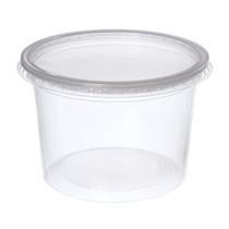 Pote De Plástico Descartável Para Alimentos Com Tampa 500m
