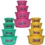 3 Kits De 4 Potes Redondo C Tampa Plástico Plasvale Am Ro Ve