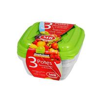 Conjunto Vasilhas/potes Pequenos 3 Peças Mb Plàsticos- Verde