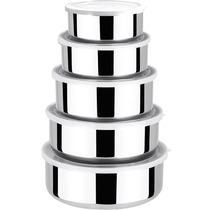 Conjunto De Potes Em Aço Inox - 5 Peças