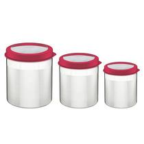 Conjunto Potes P/ Mantimentos 3 Peças Aço Inox - Tramontina