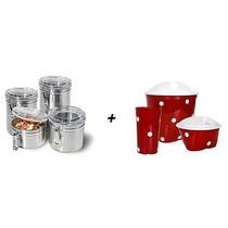 Kit 4 Potes Hermetico Inox + Kit Pia 3 Pecas Plast Vermelho