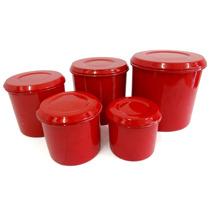 Conjuntos De Potes Para Mantimentos 5 Peças Vermelho