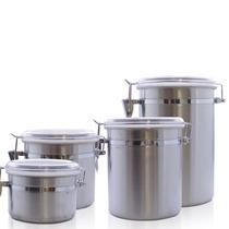Kit 4 Potes Herméticos Para Mantimento Aço Inox Redondos