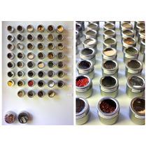 6 Potes Porta Temperos Em Aço Inox Imã Base C Suporte A53