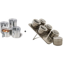 Kit 4 Potes Inox Tampa Acilico + Porta Temperos 6 Peças Inox