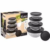 Conjunto De Potes Em Vidro 5 Peças Com Tampa Euro; Novo