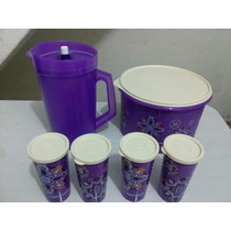 Kit Roxo Tupperware Com Jarra