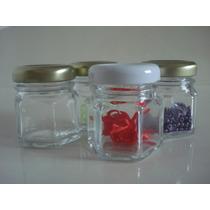 10 Potes De Vidro Para Lembrancinhas Sextavado E Liso 40ml