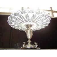 Magnífico,raro Prato Noveau Bolo Prata 800/cristal,alemanha