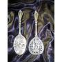 Raro Par De Colheres Decorativas Em Bronze/prata,itália,50