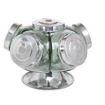 Baleiro Giratório Vidro 5 Potes Alumínio Bomboniere 0118913