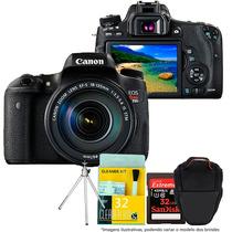 Câmera Canon T6s 18-135mm+cartão 32gb+bolsa+tripé+kit Limp