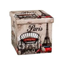 Puff Baú Banco Dobravel Paris França Torre Eiffel