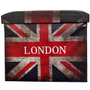 Puff Bau Dobravel Decoracao Londres Guarda Volume Couro Ecol