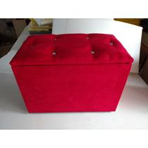 Puff Baú Retangular 58x34x45cm Suede Varias Cores