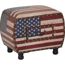 Puff Banco Apoio Estofado Gaveta Eua Usa América Bandeira