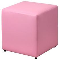 Puff Quadrado Decorativo Sala Quarto Sofá Corino Rosa Bebê