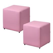 Kit 02 Puffs Quadrado Decorativo Sala Sofá Corino Rosa Bebê