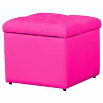 Puff Baú Em Captonê P/ Quarto Bebê Porta Objeto Corino Pink